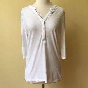 Victoria's Secret White 3/4 Sleeve Henley Shirt